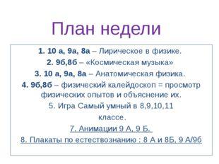 План недели 1. 10 а, 9а, 8а – Лирическое в физике. 2. 9б,8б – «Космическая му
