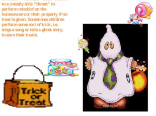 Trick-or-treating is a customary celebration for children on Halloween. Child