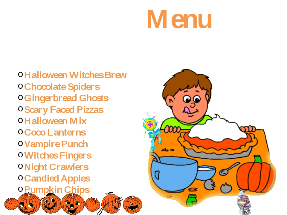 Menu Halloween Witches Brew Chocolate Spiders Gingerbread Ghosts Scary Faced...