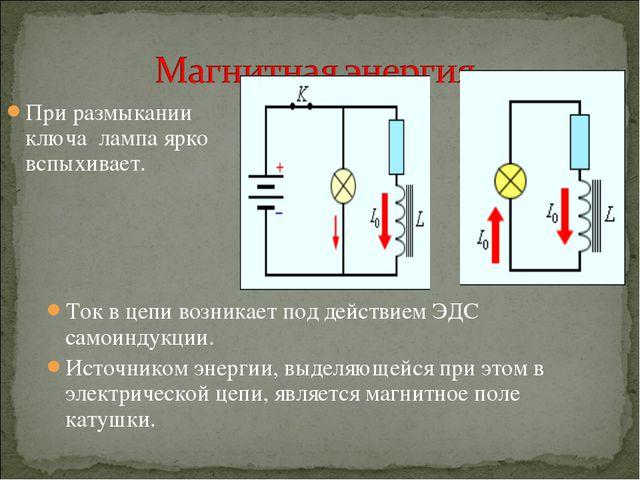 При размыкании ключа лампа ярко вспыхивает. Ток в цепи возникает под действие...