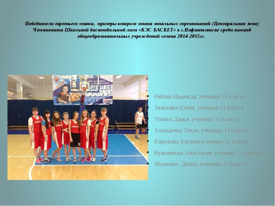 Победители третьего этапа, призеры второго этапа зональных соревнований (Цент...