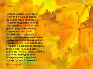 Осень. Настала осень; непогоды Несутся в тучах от морей; Угрюмеет лицо прир