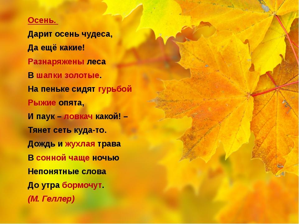 Осень. Дарит осень чудеса, Да ещё какие! Разнаряжены леса В шапки золотые. Н...