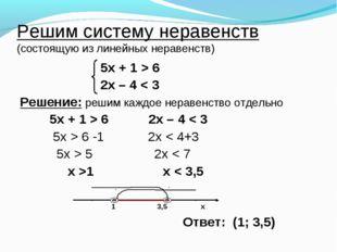 Решим систему неравенств (состоящую из линейных неравенств) 5х + 1 > 6 2х – 4