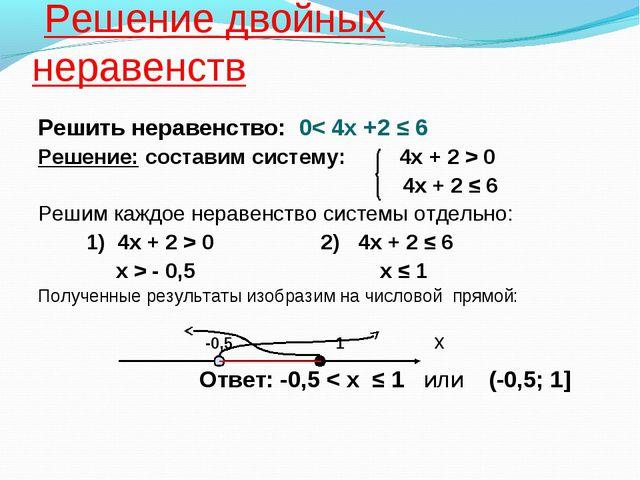 Решение двойных неравенств Решить неравенство: 0< 4х +2 ≤ 6 Решение: состави...