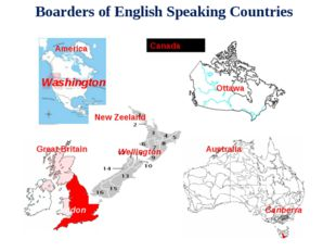 Boarders of English Speaking Countries America Great Britain Australia New Ze
