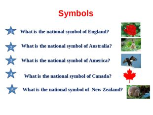 Symbols 1 2 3 4 5 What is the national symbol of England? What is the nationa