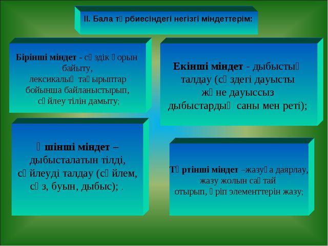 ІІ. Бала тәрбиесіндегі негізгі міндеттерім: Бірінші міндет - сөздiк қорын бай...