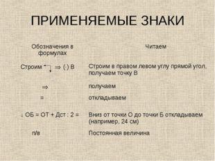 ПРИМЕНЯЕМЫЕ ЗНАКИ Обозначения в формулах Читаем Строим  (·) ВСтроим в прав
