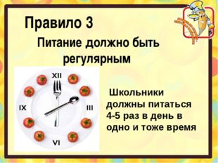 Правило 3 Питание должно быть регулярным Школьники должны питаться 4-5 раз в