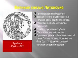 Великие князья Литовские Тройден 1269 – 1282 Происхождение неизвестно. Воевал