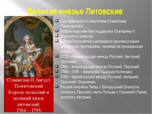 Великие князья Литовские Сын краковского каштеляна Станислава Понятовского. И