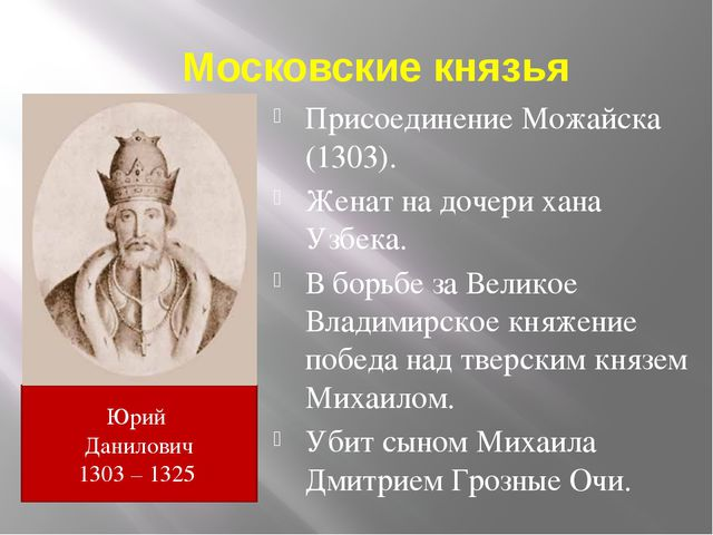 Московские князья Присоединение Можайска (1303). Женат на дочери хана Узбека....