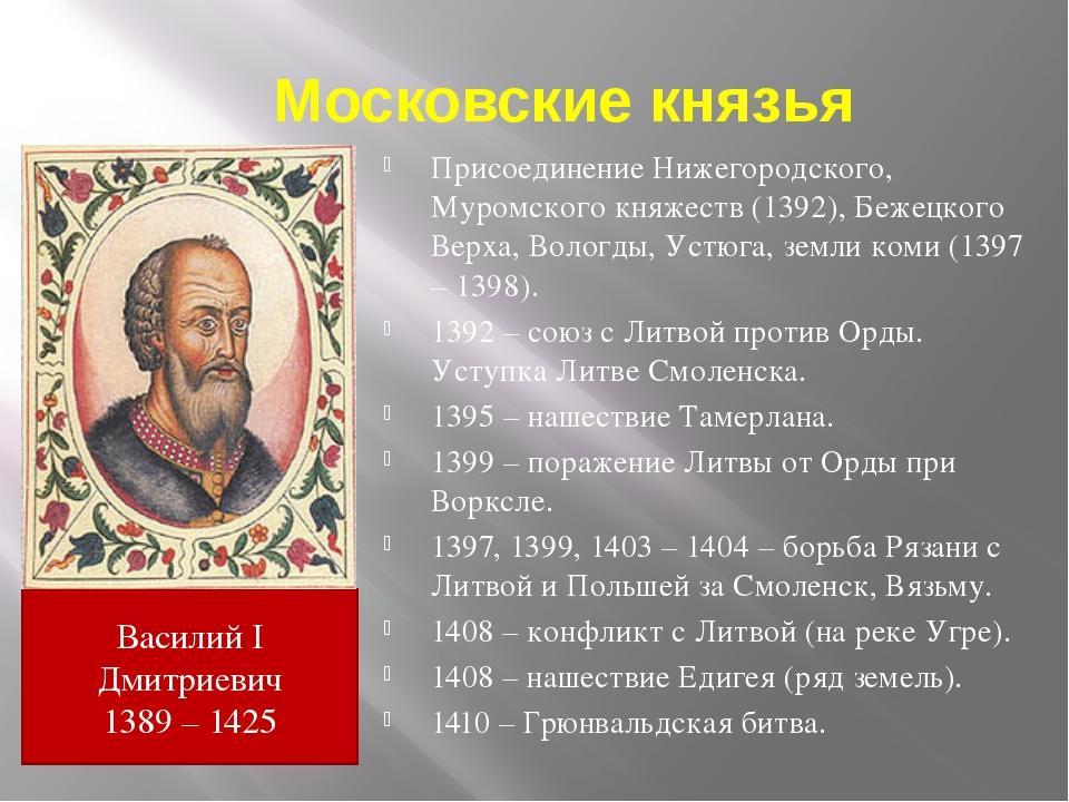 Московские князья Присоединение Нижегородского, Муромского княжеств (1392), Б...