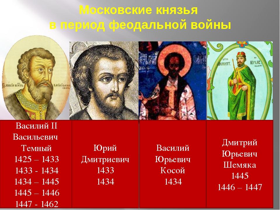 Московские князья в период феодальной войны Василий II Васильевич Темный 1425...
