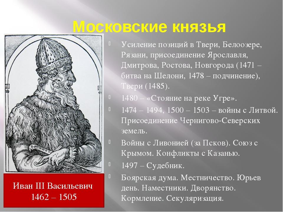 Московские князья Усиление позиций в Твери, Белоозере, Рязани, присоединение...