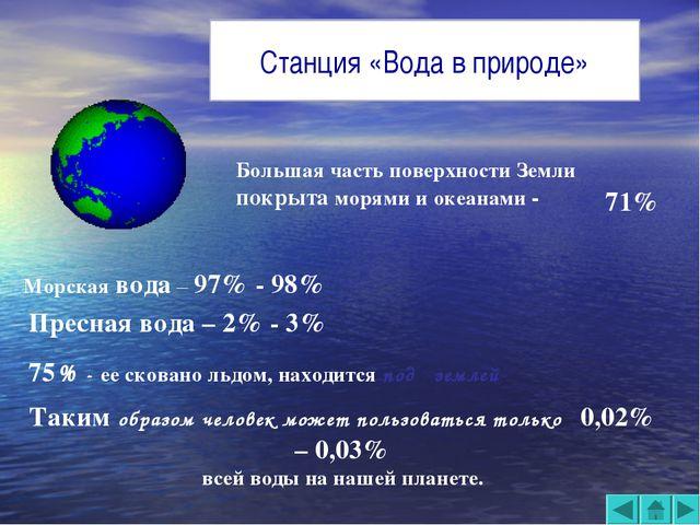 Большая часть поверхности Земли покрыта морями и океанами - 71% Морская вода...