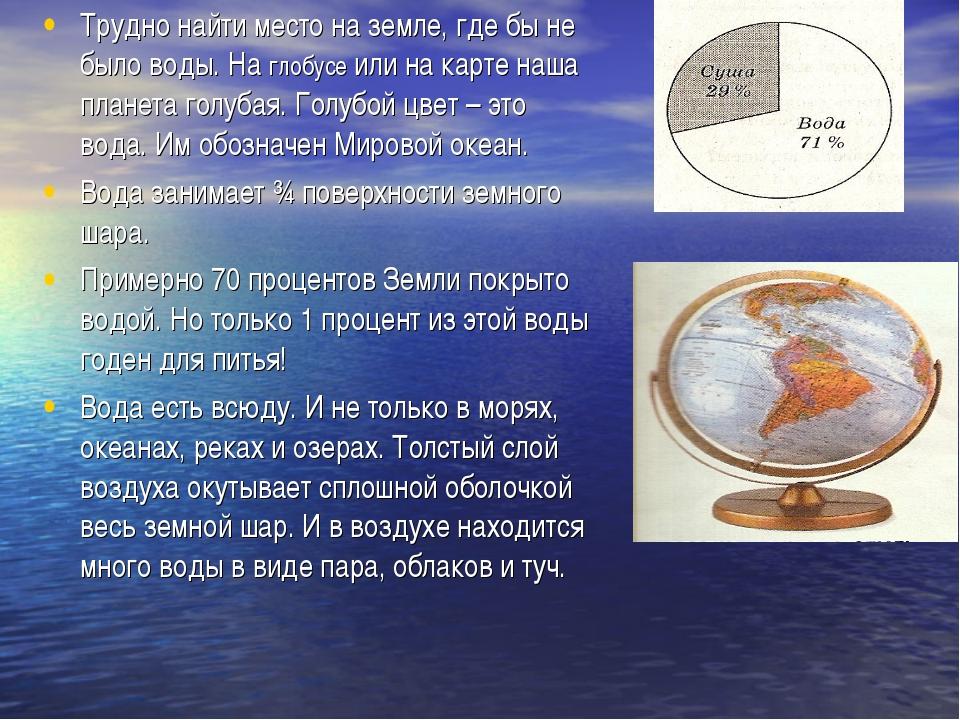 Трудно найти место на земле, где бы не было воды. На глобусе или на карте наш...