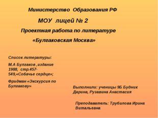 Министерство Образования РФ МОУ лицей № 2 Проектная работа по литературе «Бу