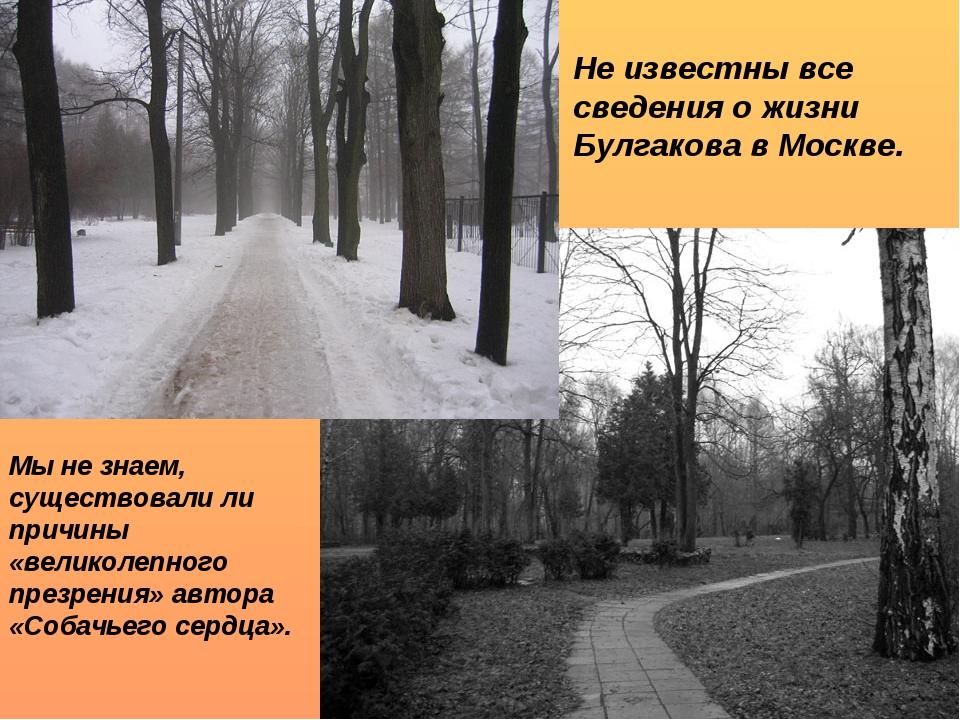 Не известны все сведения о жизни Булгакова в Москве. Мы не знаем, существовал...