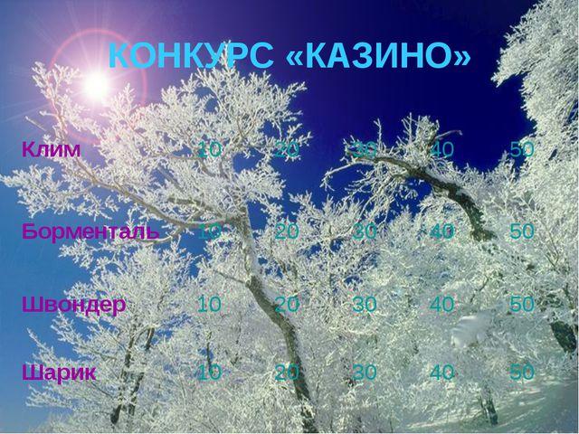 КОНКУРС «КАЗИНО»