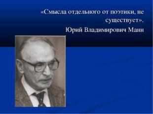 «Смысла отдельного от поэтики, не существует». Юрий Владимирович Манн