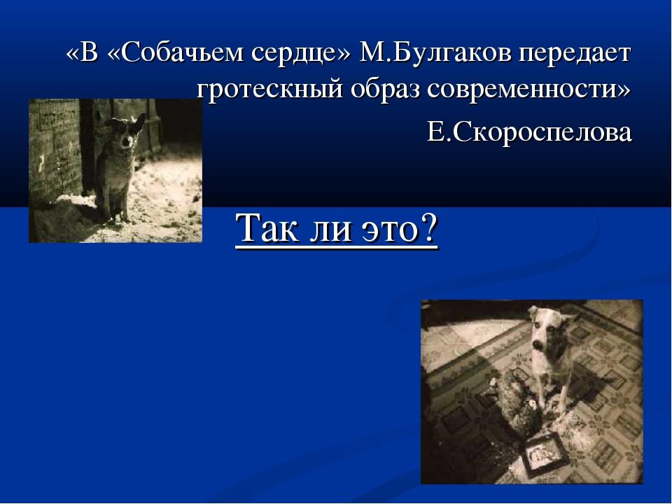 «В «Собачьем сердце» М.Булгаков передает гротескный образ современности» Е.Ск...
