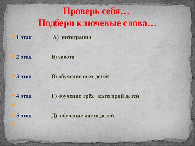 1 этап А) интеграция 2 этап Б) забота 3 этап В) обучение всех детей 4 этап Г)...