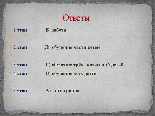 1 этап Б) забота 2 этап Д) обучение части детей 3 этап Г) обучение трёх катег...