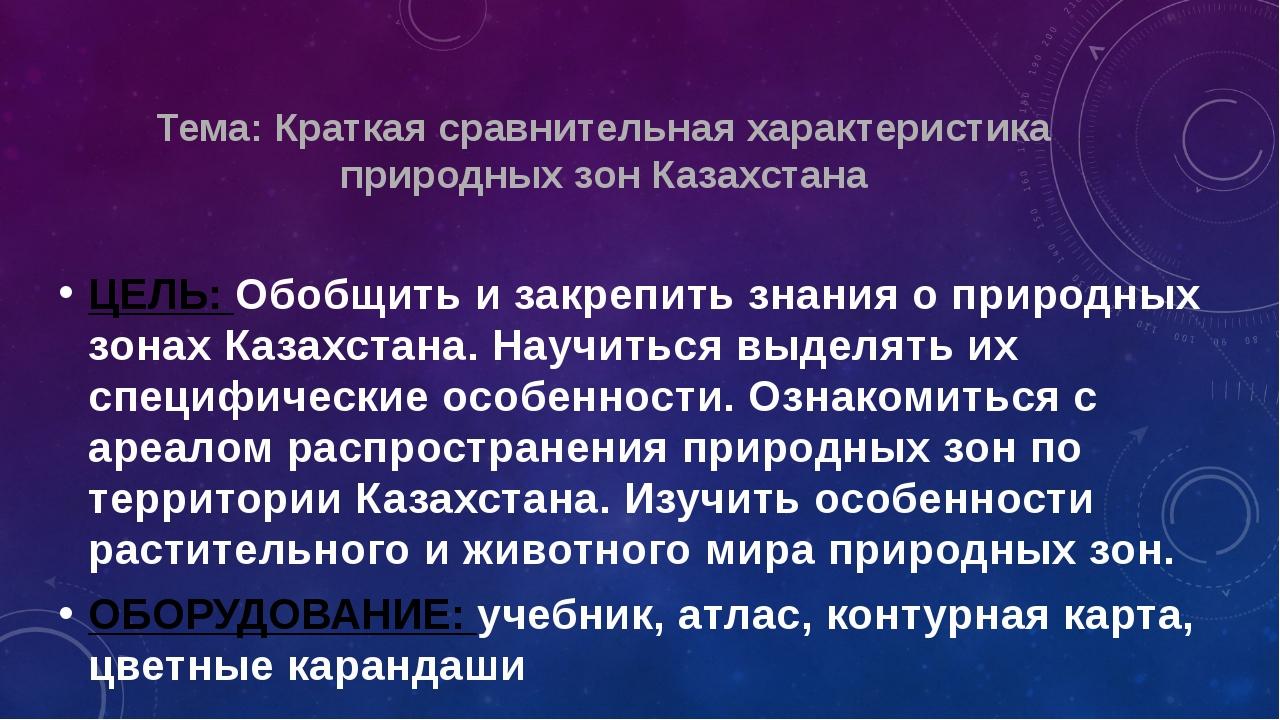 Тема: Краткая сравнительная характеристика природных зон Казахстана ЦЕЛЬ: Обо...