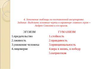 4. Заполнение таблицы по поставленной инсценировке. Задание: Выделить основны