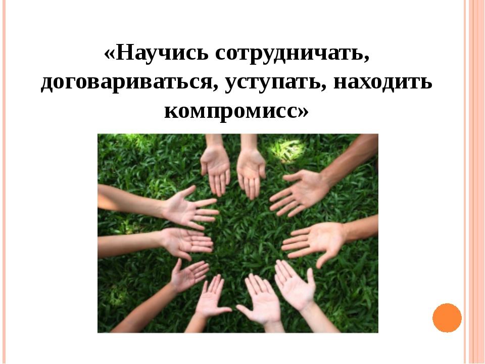 «Научись сотрудничать, договариваться, уступать, находить компромисс»