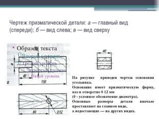 Чертеж призматической детали: а — главный вид (спереди); б — вид слева; в — в