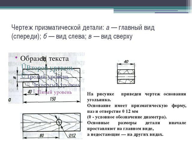Чертеж призматической детали: а — главный вид (спереди); б — вид слева; в — в...