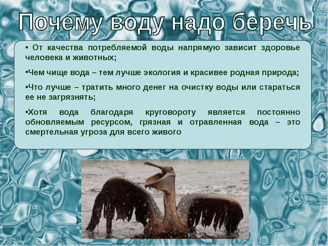 От качества потребляемой воды напрямую зависит здоровье человека и животных;...