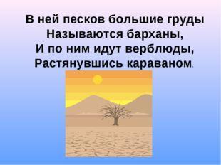 В ней песков большие груды Называются барханы, И по ним идут верблюды, Растян
