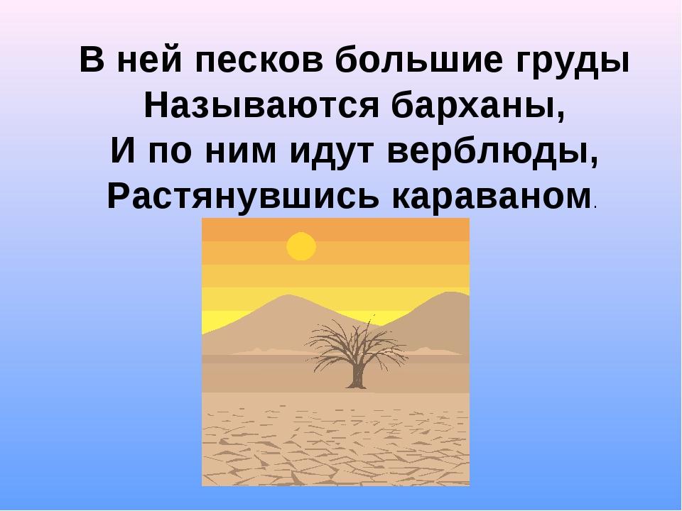 В ней песков большие груды Называются барханы, И по ним идут верблюды, Растян...