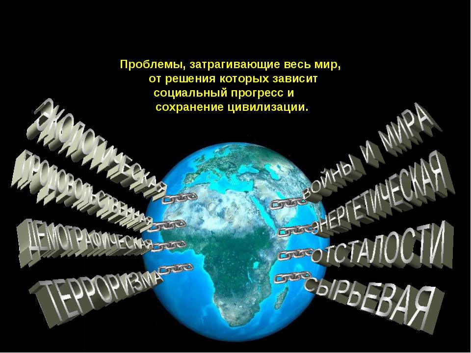 ГЛОБАЛЬНЫЕ ПРОБЛЕМЫ Проблемы, затрагивающие весь мир, от решения которых зави...