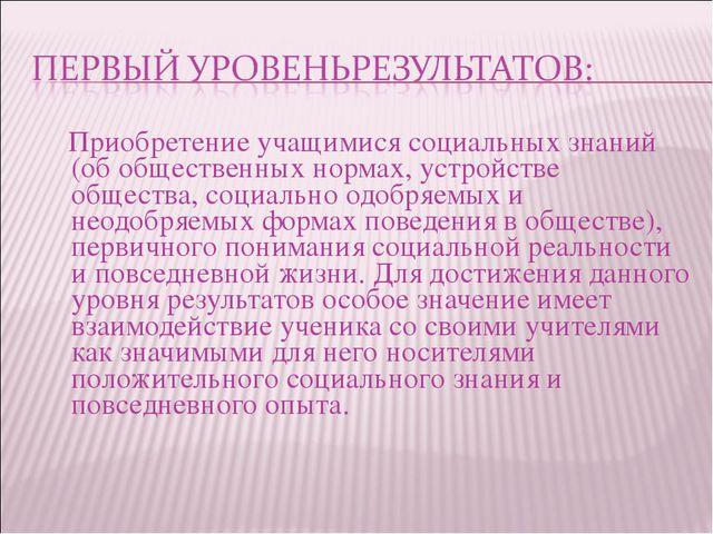 Приобретение учащимися социальных знаний (об общественных нормах, устройстве...
