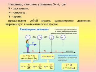 Например, известное уравнение S=vt, где S - расстояние, v - скорость t - вре