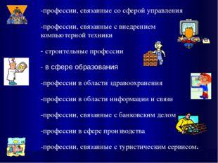 -профессии, связанные со сферой управления -профессии, связанные с внедрением