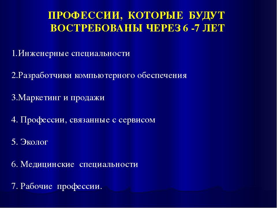 ПРОФЕССИИ, КОТОРЫЕ БУДУТ ВОСТРЕБОВАНЫ ЧЕРЕЗ 6 -7 ЛЕТ Инженерные специальности...