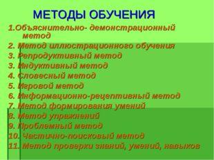 МЕТОДЫ ОБУЧЕНИЯ 1.Объяснительно- демонстрационный метод 2. Метод иллюстрацио