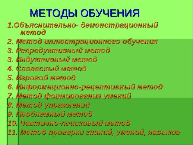 МЕТОДЫ ОБУЧЕНИЯ 1.Объяснительно- демонстрационный метод 2. Метод иллюстрацио...