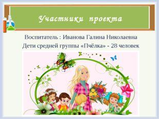 Участники проекта Воспитатель : Иванова Галина Николаевна Дети средней группы