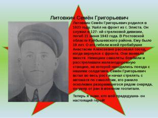Литовкин Семён Григорьевич Литовкин Семён Григорьевич родился в 1923 году. У