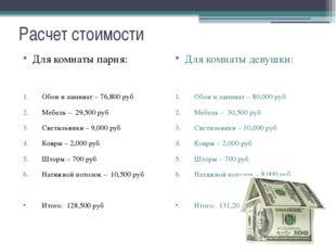 Расчет стоимости Для комнаты парня: Обои и ламинат – 76,800 руб Мебель – 29,5