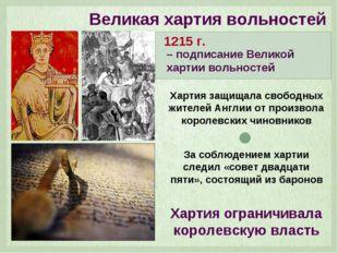 Великая хартия вольностей – подписание Великой хартии вольностей 1215 г. Харт