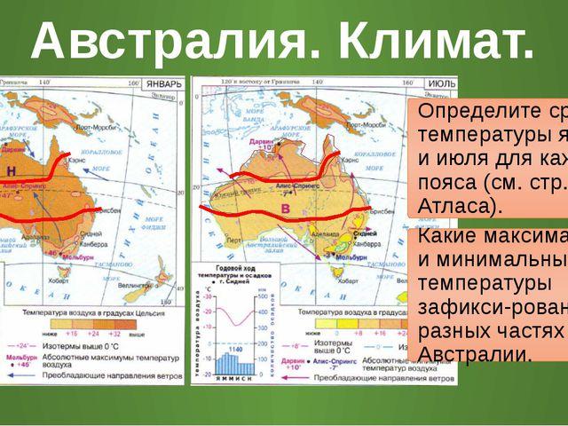 Австралия. Климат. Определите средние температуры января и июля для каждого п...