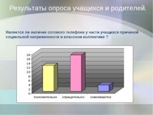 Результаты опроса учащихся и родителей. Является ли наличие сотового телефона